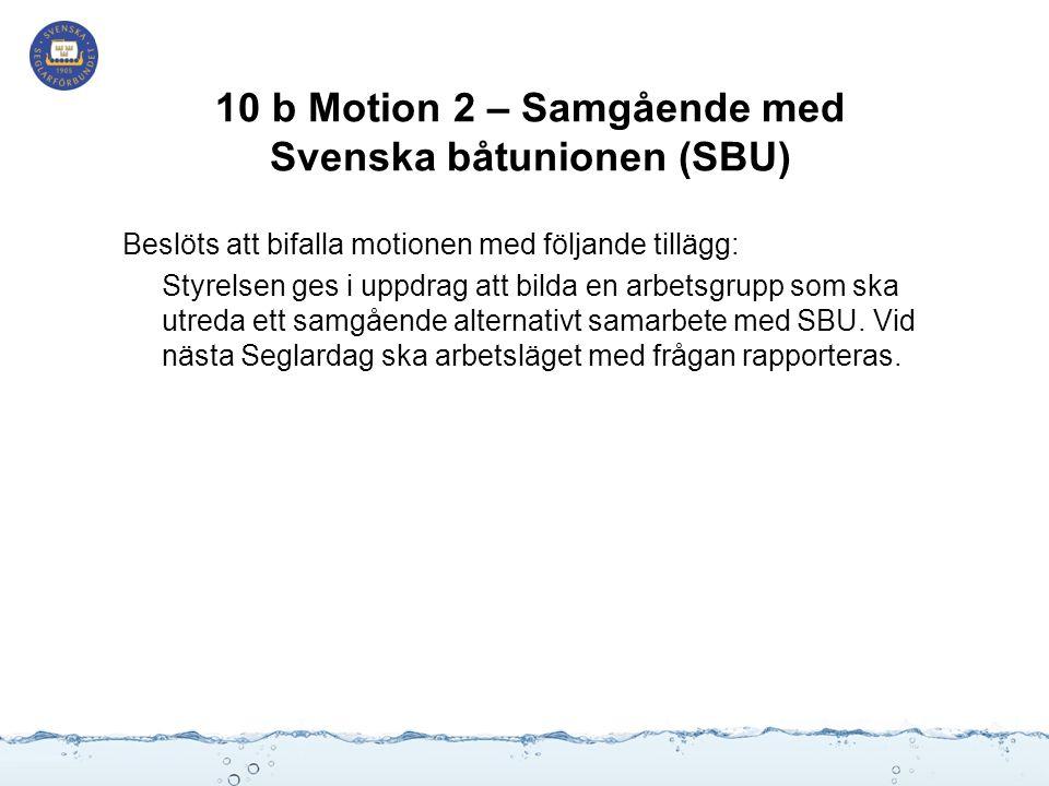 10 b Motion 2 – Samgående med Svenska båtunionen (SBU) Beslöts att bifalla motionen med följande tillägg: Styrelsen ges i uppdrag att bilda en arbetsgrupp som ska utreda ett samgående alternativt samarbete med SBU.