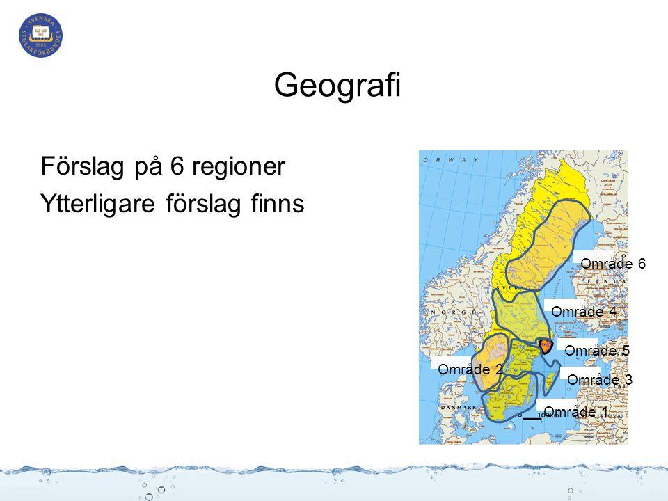 Område 6 Område 5 Område 4 Område 3 Område 2 Område 1 Geografi Förslag på 6 regioner Ytterligare förslag finns
