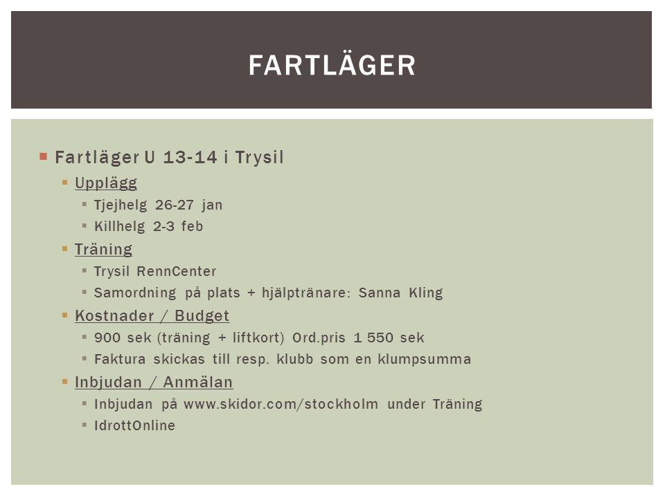  Fartläger U 13-14 i Trysil  Upplägg  Tjejhelg 26-27 jan  Killhelg 2-3 feb  Träning  Trysil RennCenter  Samordning på plats + hjälptränare: San