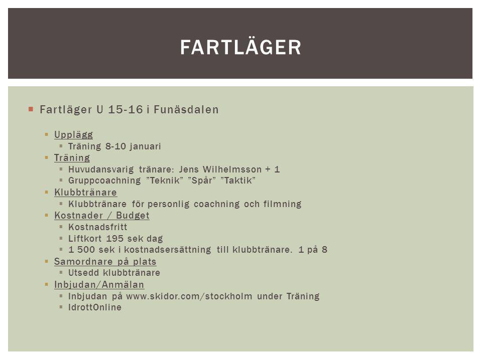 """ Fartläger U 15-16 i Funäsdalen  Upplägg  Träning 8-10 januari  Träning  Huvudansvarig tränare: Jens Wilhelmsson + 1  Gruppcoachning """"Teknik"""" """"S"""