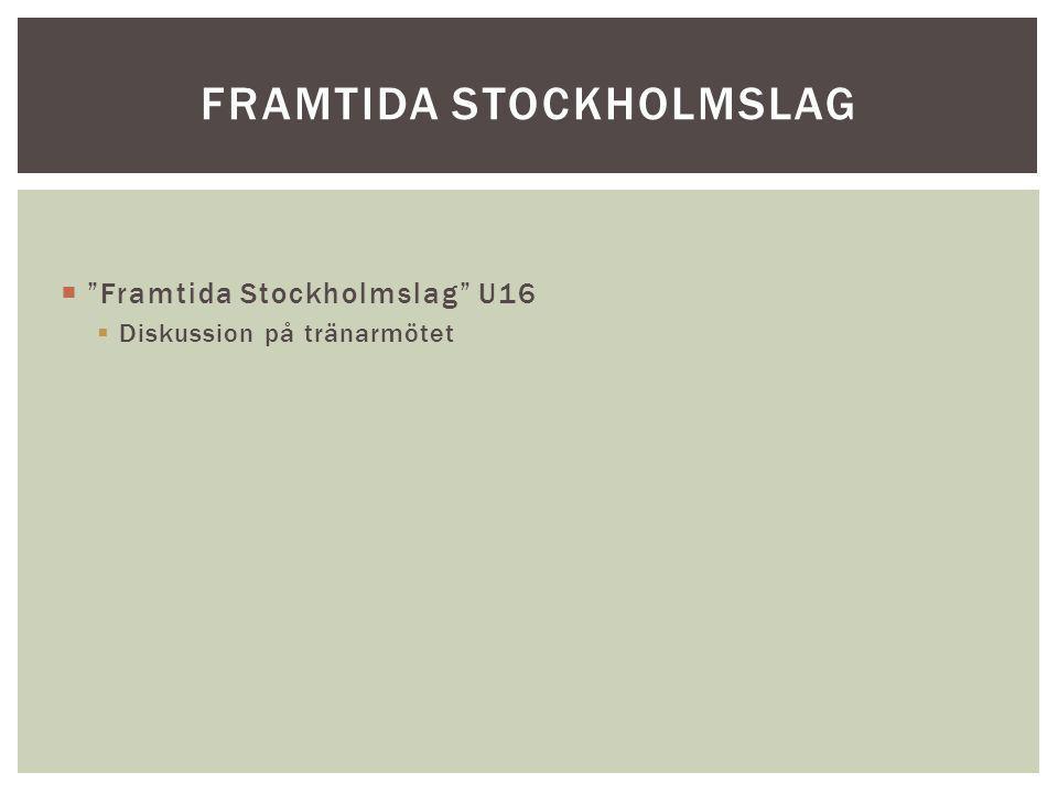 """ """"Framtida Stockholmslag"""" U16  Diskussion på tränarmötet FRAMTIDA STOCKHOLMSLAG"""