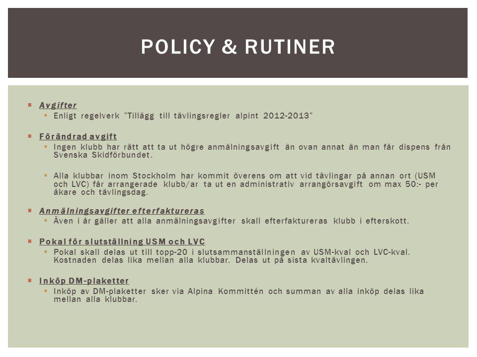 """ Avgifter  Enligt regelverk """"Tillägg till tävlingsregler alpint 2012-2013""""  Förändrad avgift  Ingen klubb har rätt att ta ut högre anmälningsavgif"""