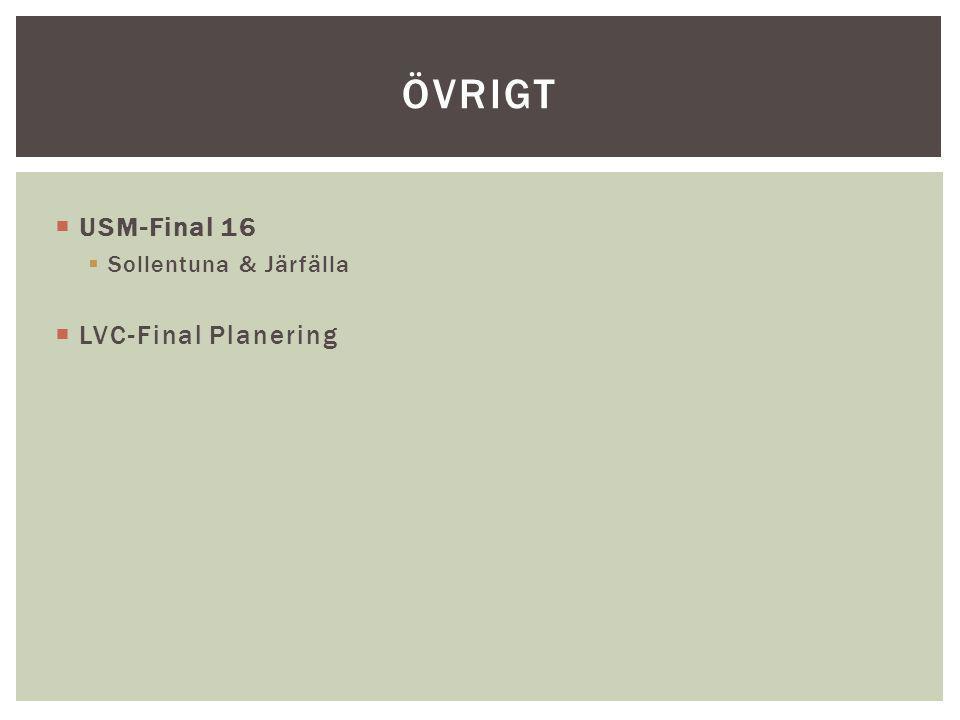  USM-Final 16  Sollentuna & Järfälla  LVC-Final Planering ÖVRIGT