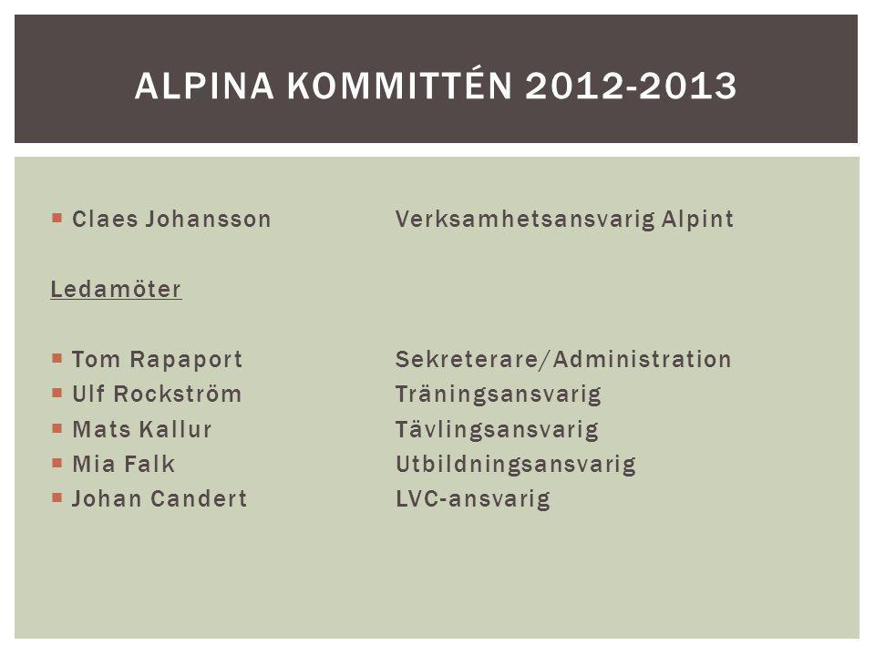  Claes JohanssonVerksamhetsansvarig Alpint Ledamöter  Tom RapaportSekreterare/Administration  Ulf RockströmTräningsansvarig  Mats KallurTävlingsan