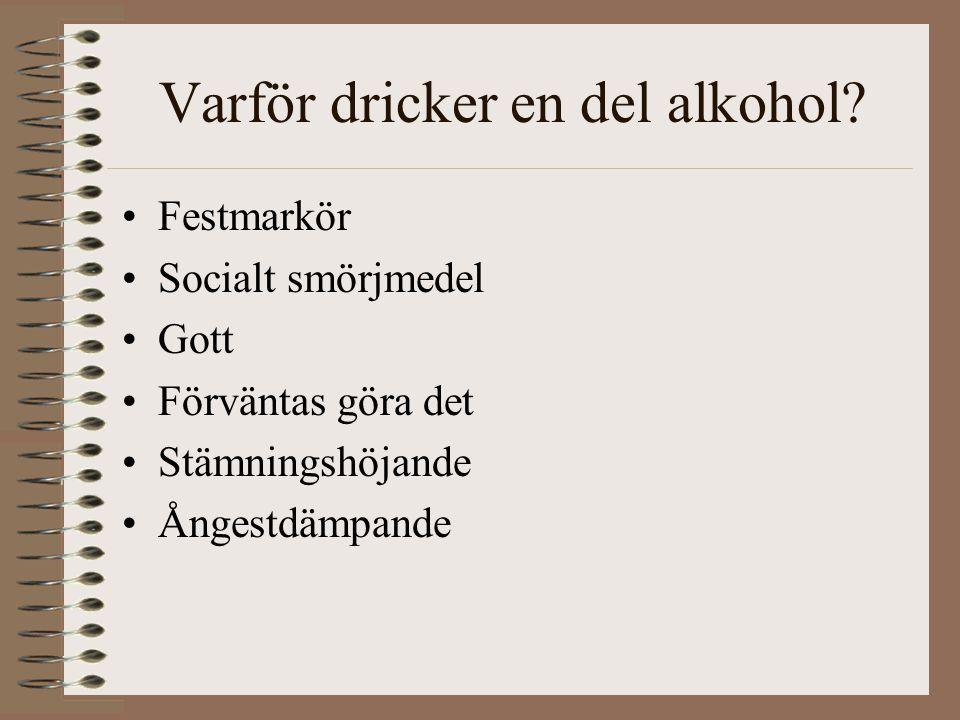 Varför dricker en del alkohol? Festmarkör Socialt smörjmedel Gott Förväntas göra det Stämningshöjande Ångestdämpande