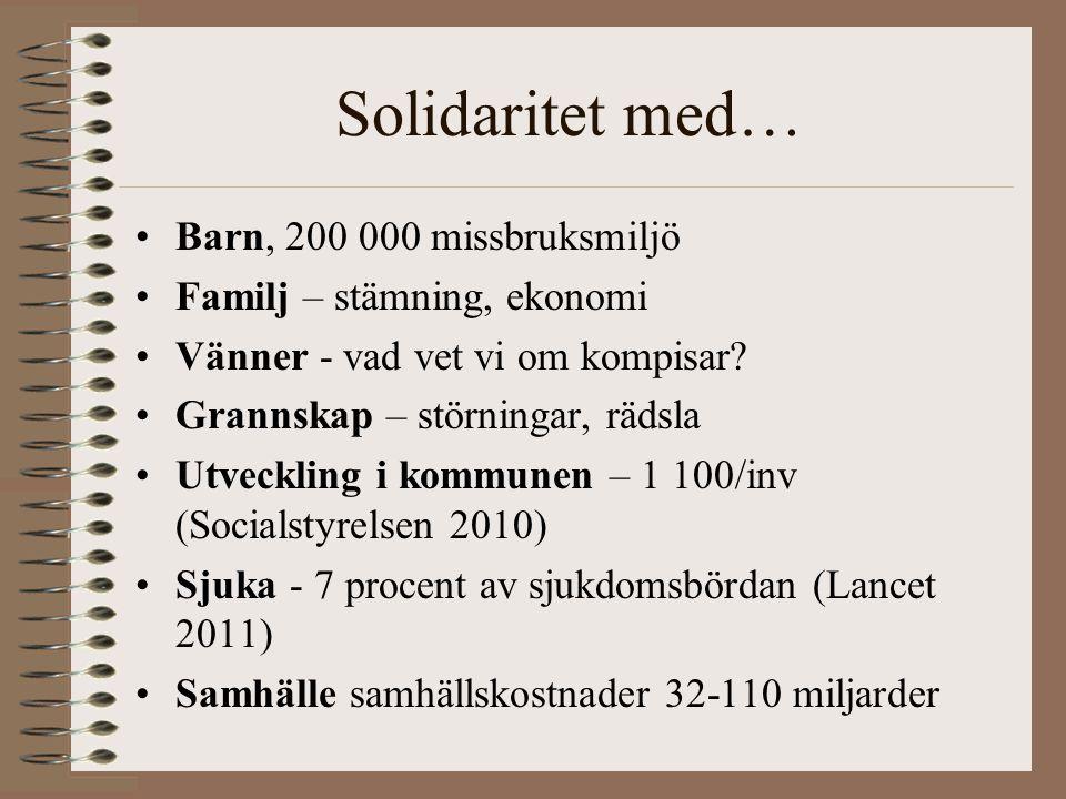 Solidaritet med… Barn, 200 000 missbruksmiljö Familj – stämning, ekonomi Vänner - vad vet vi om kompisar? Grannskap – störningar, rädsla Utveckling i