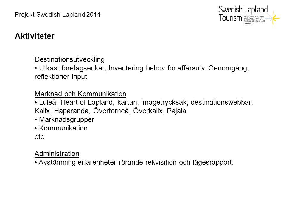 Projekt Swedish Lapland 2014 Aktiviteter Destinationsutveckling Utkast företagsenkät, Inventering behov för affärsutv.