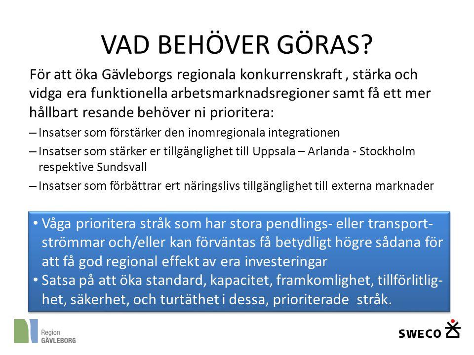 VAD BEHÖVER GÖRAS? För att öka Gävleborgs regionala konkurrenskraft, stärka och vidga era funktionella arbetsmarknadsregioner samt få ett mer hållbart