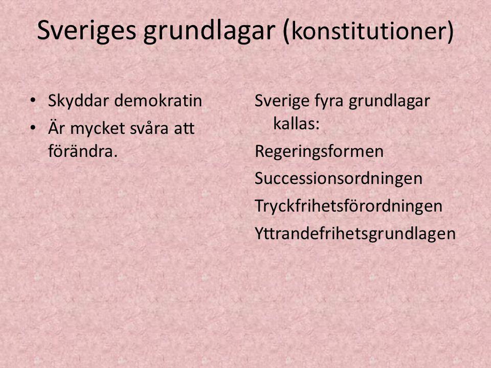 Sveriges grundlagar ( konstitutioner) Skyddar demokratin Är mycket svåra att förändra. Sverige fyra grundlagar kallas: Regeringsformen Successionsordn