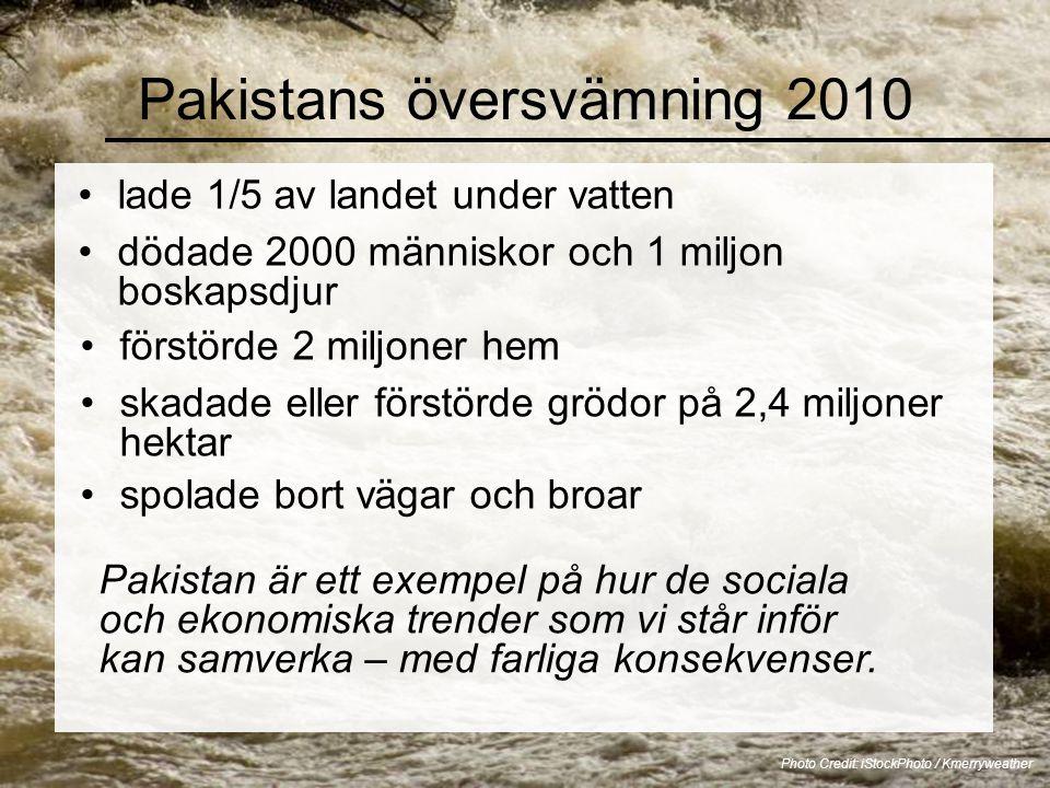 Pakistans översvämning 2010 lade 1/5 av landet under vatten Photo Credit: iStockPhoto / Kmerryweather Pakistan är ett exempel på hur de sociala och ekonomiska trender som vi står inför kan samverka – med farliga konsekvenser.