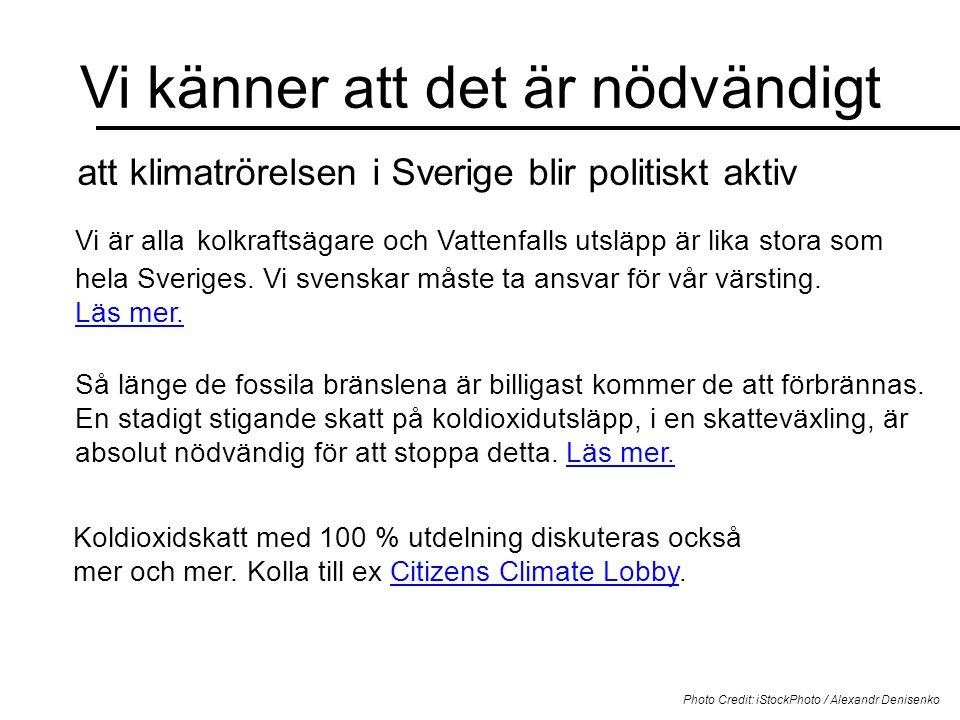 Vi känner att det är nödvändigt Photo Credit: iStockPhoto / Alexandr Denisenko att klimatrörelsen i Sverige blir politiskt aktiv Vi är alla kolkraftsägare och Vattenfalls utsläpp är lika stora som hela Sveriges.