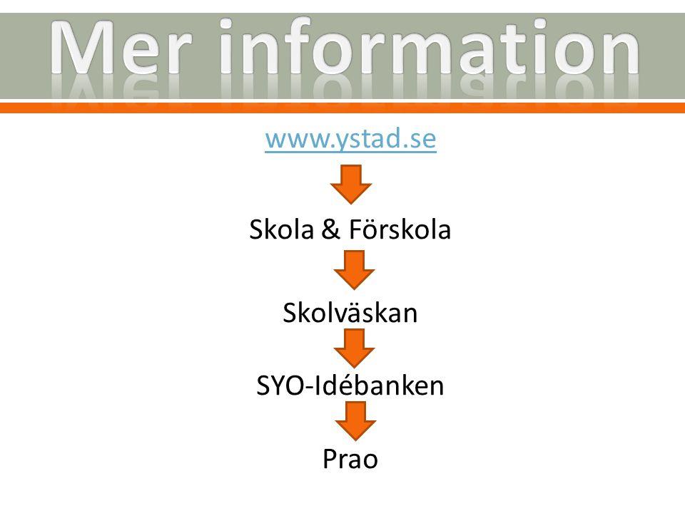 www.ystad.se Skola & Förskola Skolväskan SYO-Idébanken Prao