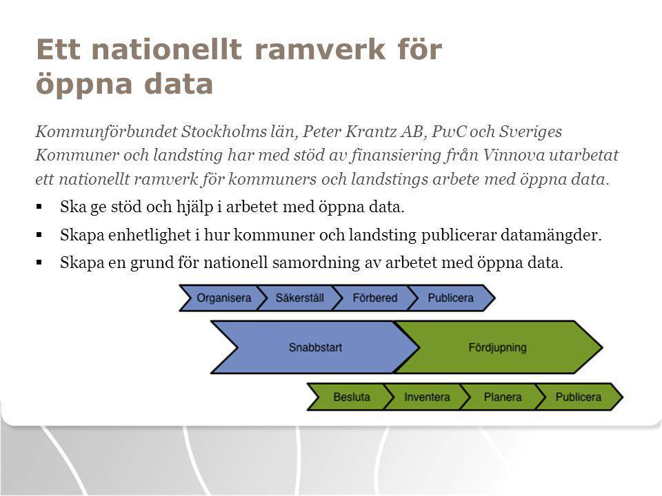 Ett nationellt ramverk för öppna data Kommunförbundet Stockholms län, Peter Krantz AB, PwC och Sveriges Kommuner och landsting har med stöd av finansiering från Vinnova utarbetat ett nationellt ramverk för kommuners och landstings arbete med öppna data.