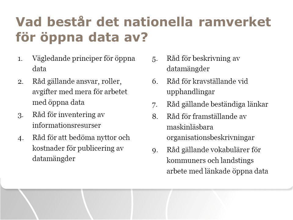 Vad består det nationella ramverket för öppna data av.