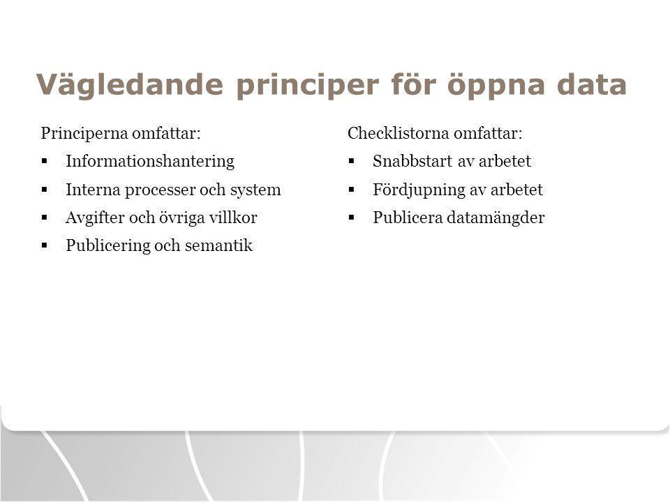 Vägledande principer för öppna data Principerna omfattar:  Informationshantering  Interna processer och system  Avgifter och övriga villkor  Publicering och semantik Checklistorna omfattar:  Snabbstart av arbetet  Fördjupning av arbetet  Publicera datamängder