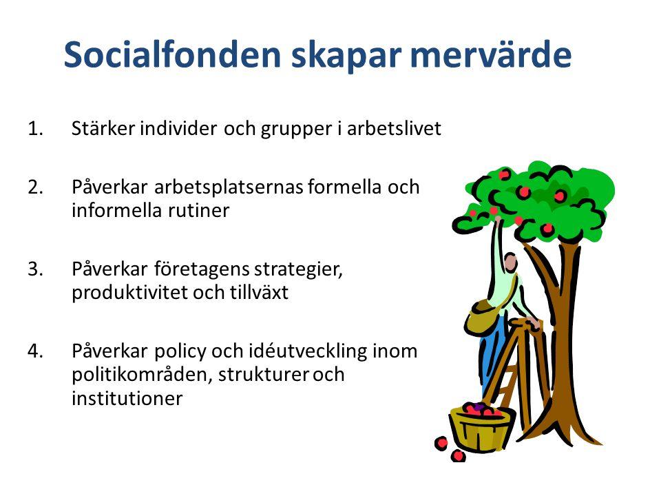 Socialfonden skapar mervärde 1.Stärker individer och grupper i arbetslivet 2.Påverkar arbetsplatsernas formella och informella rutiner 3.Påverkar företagens strategier, produktivitet och tillväxt 4.Påverkar policy och idéutveckling inom politikområden, strukturer och institutioner