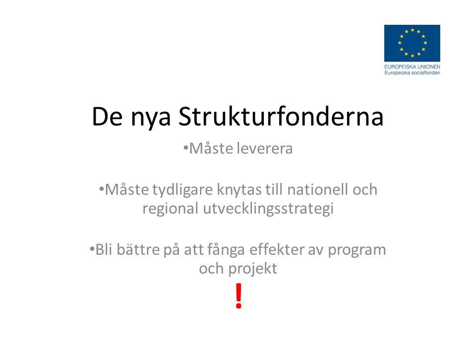 De nya Strukturfonderna Måste leverera Måste tydligare knytas till nationell och regional utvecklingsstrategi Bli bättre på att fånga effekter av program och projekt !