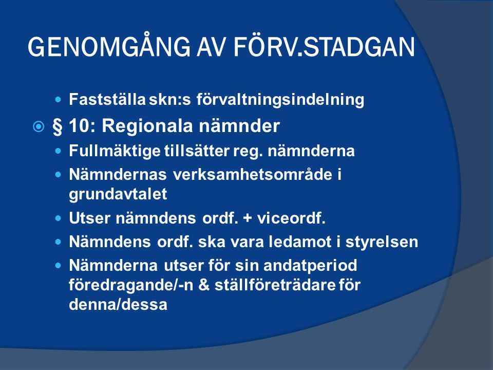 GENOMGÅNG AV FÖRV.STADGAN Fastställa skn:s förvaltningsindelning  § 10: Regionala nämnder Fullmäktige tillsätter reg.