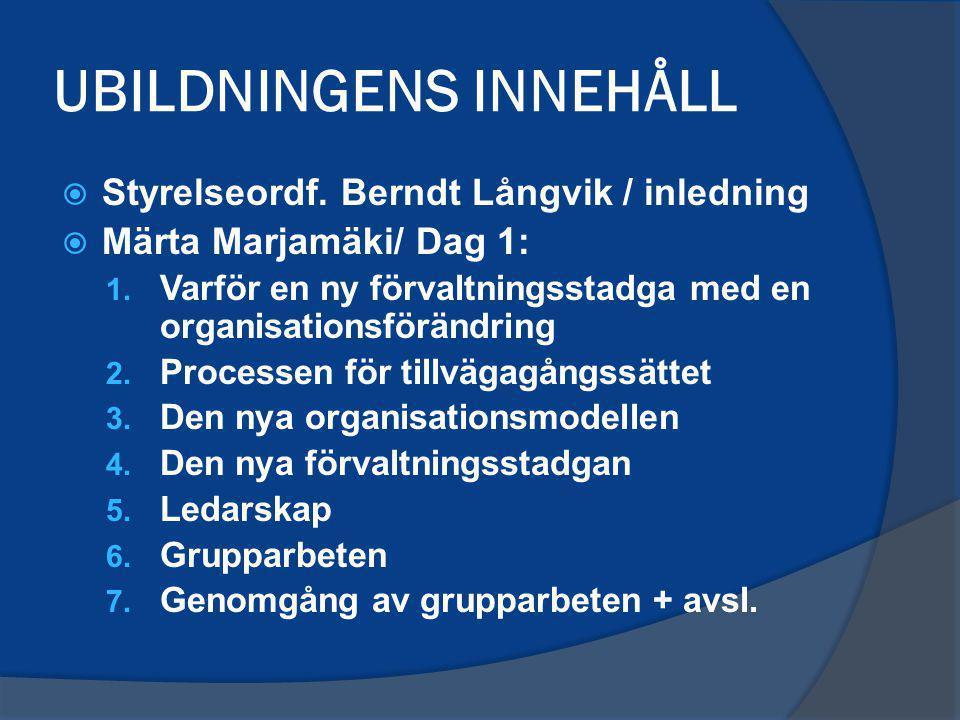 UBILDNINGENS INNEHÅLL  Styrelseordf. Berndt Långvik / inledning  Märta Marjamäki/ Dag 1: 1. Varför en ny förvaltningsstadga med en organisationsförä