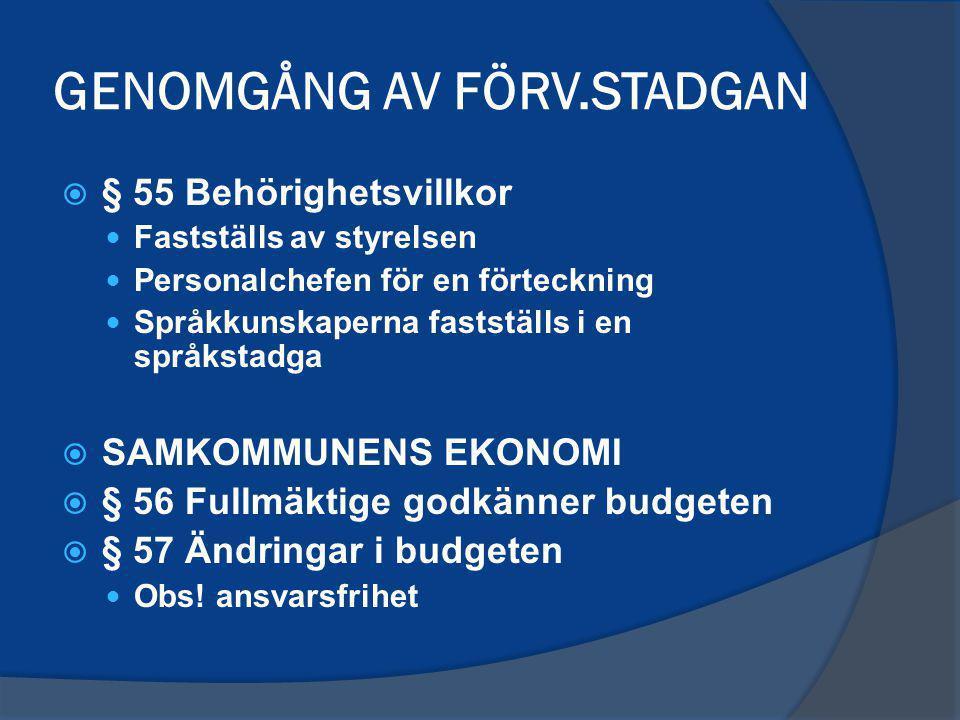 GENOMGÅNG AV FÖRV.STADGAN  § 55 Behörighetsvillkor Fastställs av styrelsen Personalchefen för en förteckning Språkkunskaperna fastställs i en språkstadga  SAMKOMMUNENS EKONOMI  § 56 Fullmäktige godkänner budgeten  § 57 Ändringar i budgeten Obs.