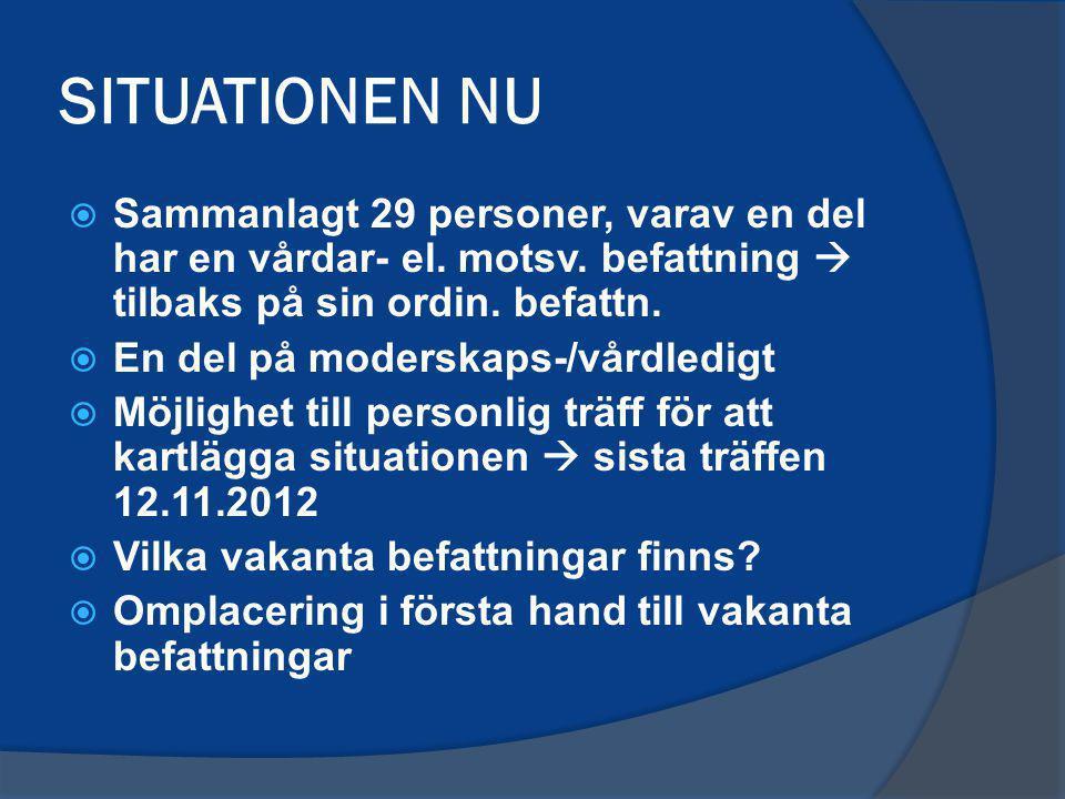 SITUATIONEN NU  Sammanlagt 29 personer, varav en del har en vårdar- el. motsv. befattning  tilbaks på sin ordin. befattn.  En del på moderskaps-/vå
