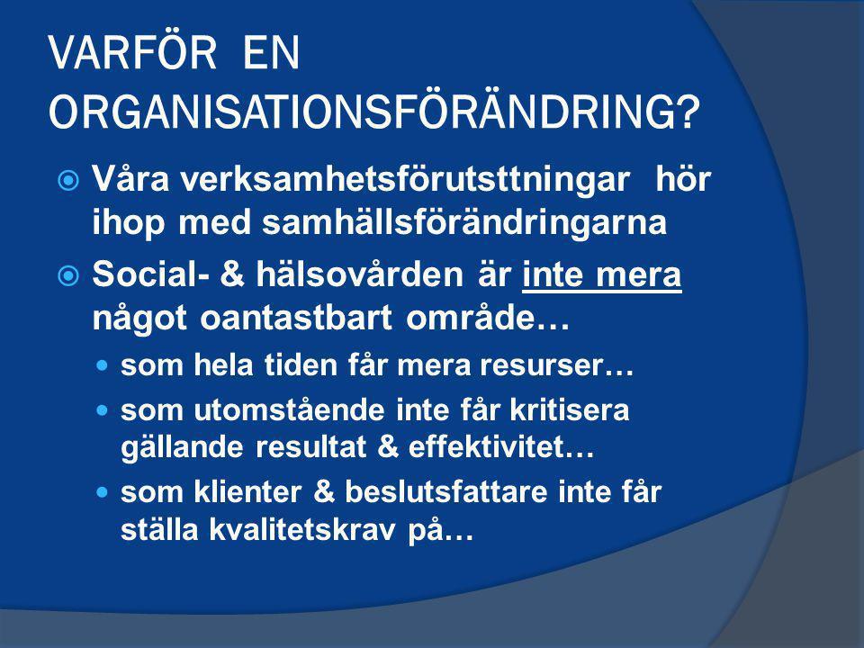 VARFÖR EN ORGANISATIONSFÖRÄNDRING.