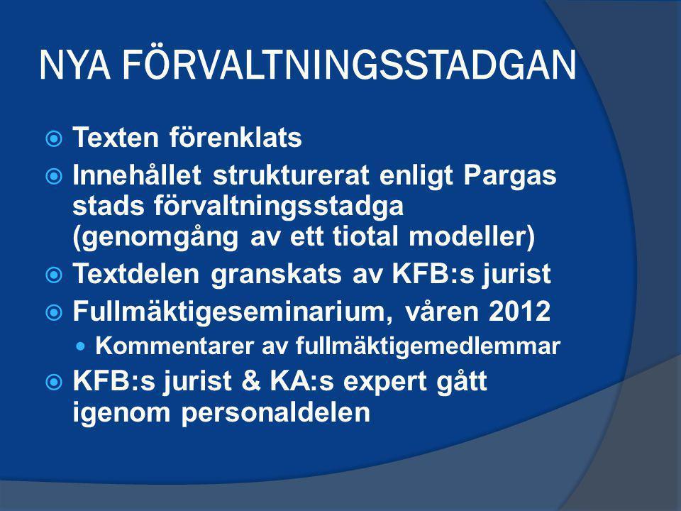 NYA FÖRVALTNINGSSTADGAN  Texten förenklats  Innehållet strukturerat enligt Pargas stads förvaltningsstadga (genomgång av ett tiotal modeller)  Text
