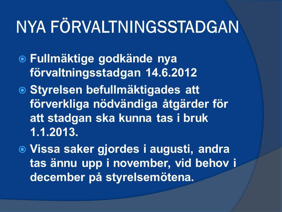 NYA FÖRVALTNINGSSTADGAN  Fullmäktige godkände nya förvaltningsstadgan 14.6.2012  Styrelsen befullmäktigades att förverkliga nödvändiga åtgärder för att stadgan ska kunna tas i bruk 1.1.2013.