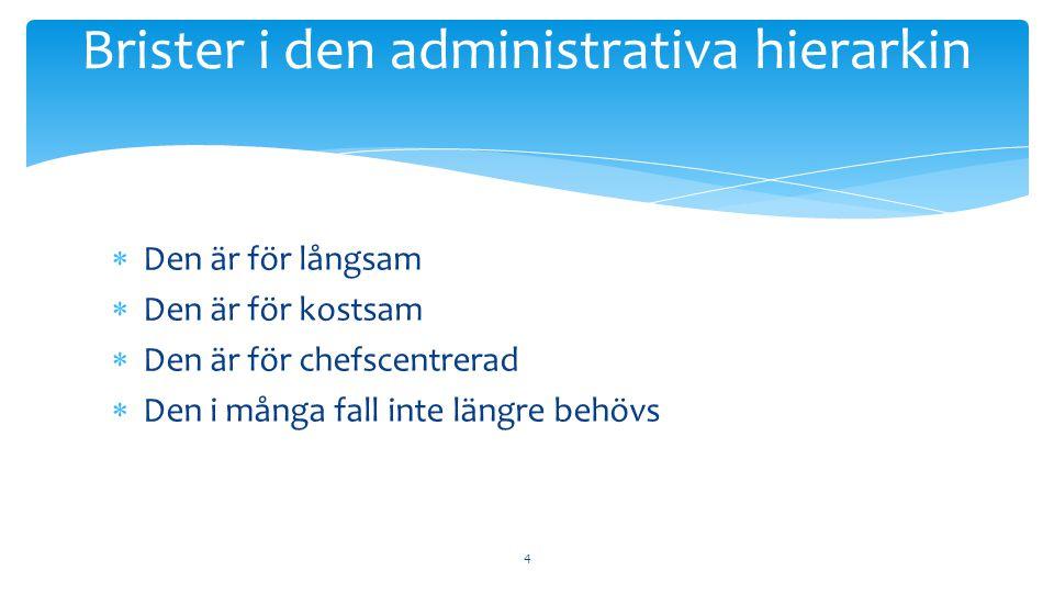  Den är för långsam  Den är för kostsam  Den är för chefscentrerad  Den i många fall inte längre behövs 4 Brister i den administrativa hierarkin