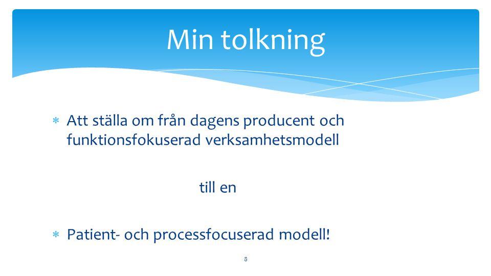  Att ställa om från dagens producent och funktionsfokuserad verksamhetsmodell till en  Patient- och processfocuserad modell.