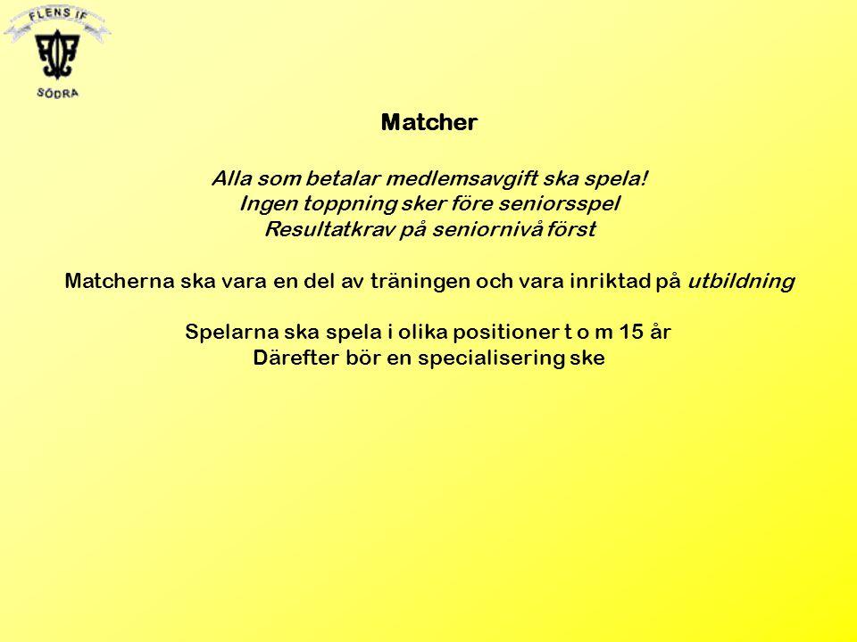 Matcher Alla som betalar medlemsavgift ska spela! Ingen toppning sker före seniorsspel Resultatkrav på seniornivå först Matcherna ska vara en del av t