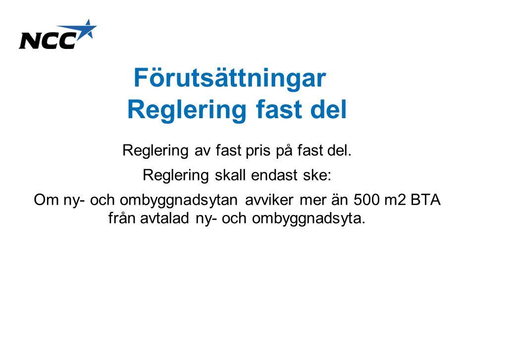NCC Construction Sverige AB 2010-11-084 Förutsättningar reglering riktpris Reglering skall endast ske: –Om ny- och ombyggnadsytan avviker från den ny- och ombyggnadsytan som avtalat riktpris fastställts utifrån.
