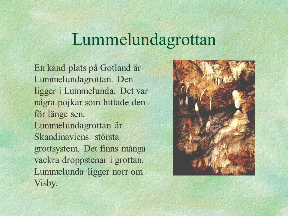 Lummelundagrottan En känd plats på Gotland är Lummelundagrottan.