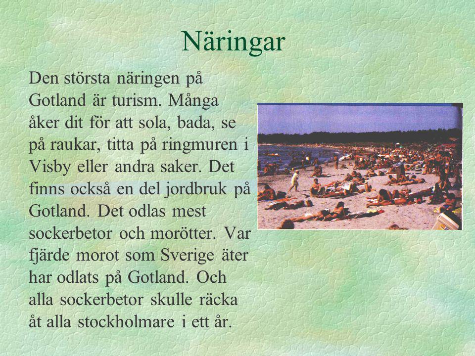 Näringar Den största näringen på Gotland är turism.
