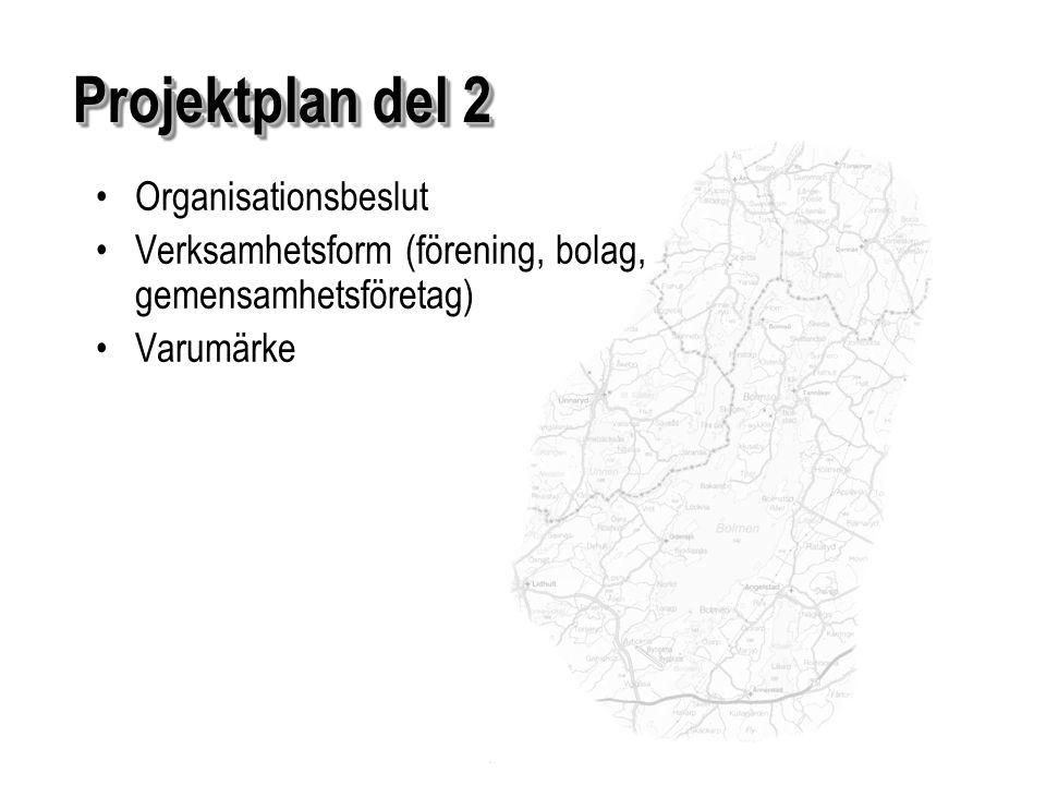 Organisationsbeslut Verksamhetsform (förening, bolag, gemensamhetsföretag) Varumärke Projektplan del 2