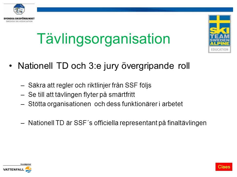 Tävlingsorganisation Nationell TD och 3:e jury övergripande roll –Säkra att regler och riktlinjer från SSF följs –Se till att tävlingen flyter på smärtfritt –Stötta organisationen och dess funktionärer i arbetet –Nationell TD är SSF´s officiella representant på finaltävlingen Claes