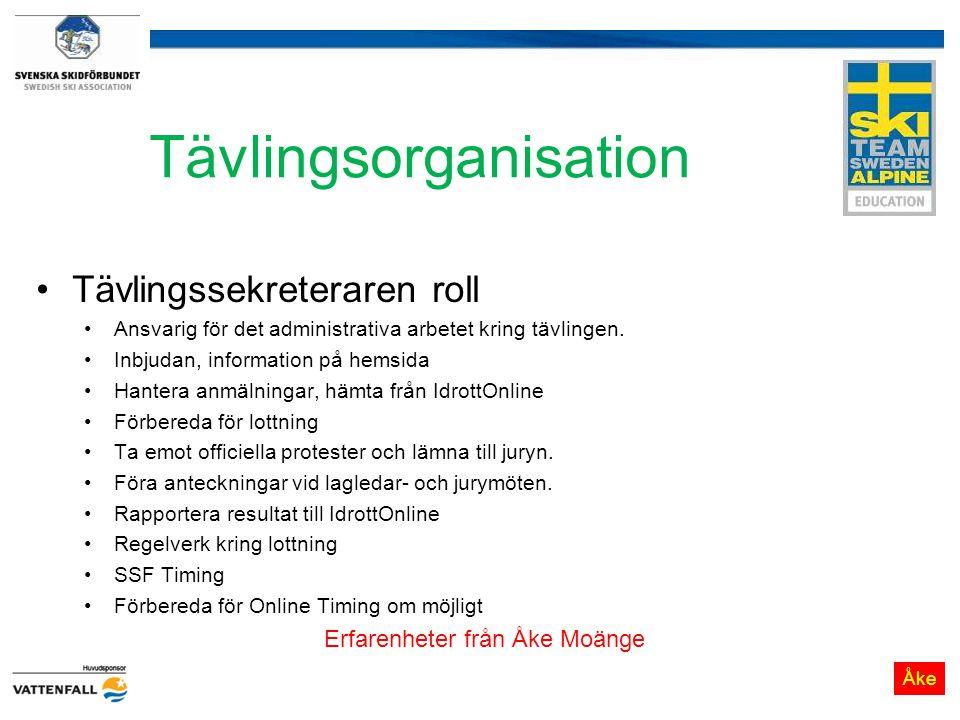 Tävlingsorganisation Tävlingssekreteraren roll Ansvarig för det administrativa arbetet kring tävlingen. Inbjudan, information på hemsida Hantera anmäl