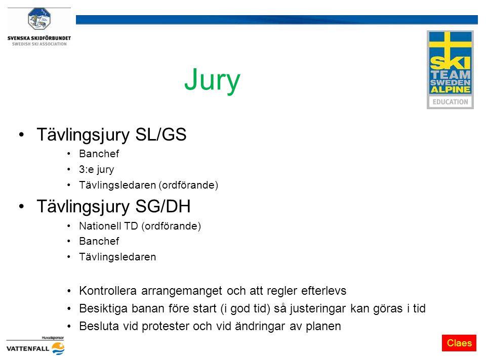 Jury Tävlingsjury SL/GS Banchef 3:e jury Tävlingsledaren (ordförande) Tävlingsjury SG/DH Nationell TD (ordförande) Banchef Tävlingsledaren Kontrollera arrangemanget och att regler efterlevs Besiktiga banan före start (i god tid) så justeringar kan göras i tid Besluta vid protester och vid ändringar av planen Claes