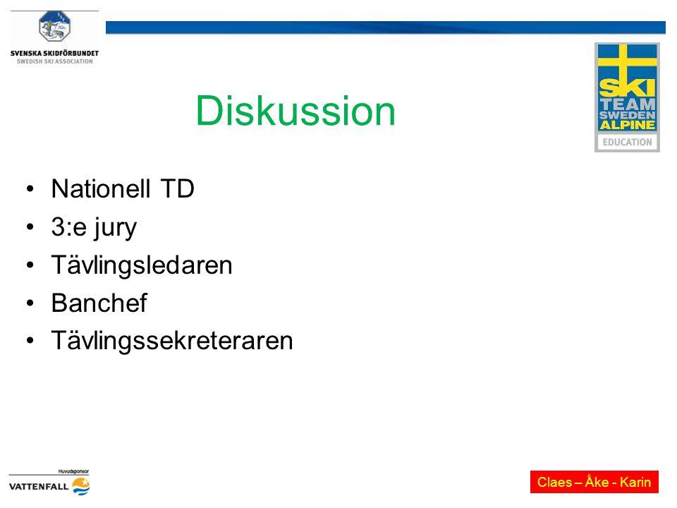 Diskussion Nationell TD 3:e jury Tävlingsledaren Banchef Tävlingssekreteraren Claes – Åke - Karin