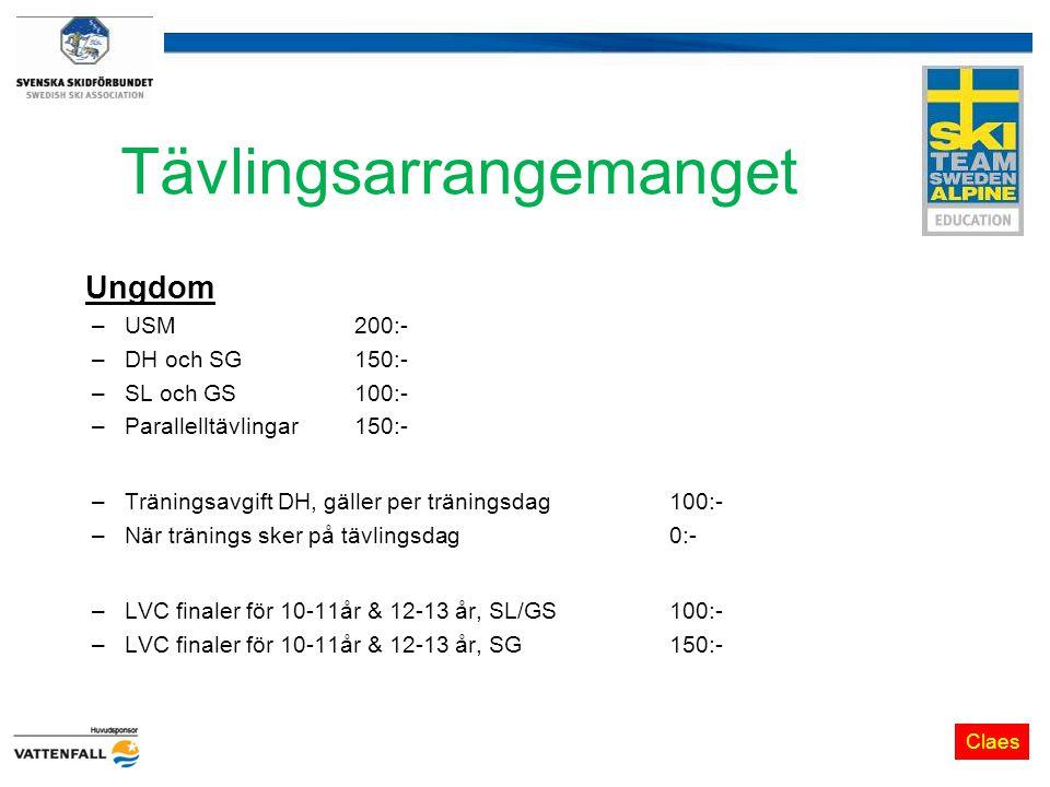 Tävlingsarrangemanget Ungdom –USM200:- –DH och SG150:- –SL och GS 100:- –Parallelltävlingar 150:- –Träningsavgift DH, gäller per träningsdag 100:- –När tränings sker på tävlingsdag0:- –LVC finaler för 10-11år & 12-13 år, SL/GS100:- –LVC finaler för 10-11år & 12-13 år, SG 150:- Claes
