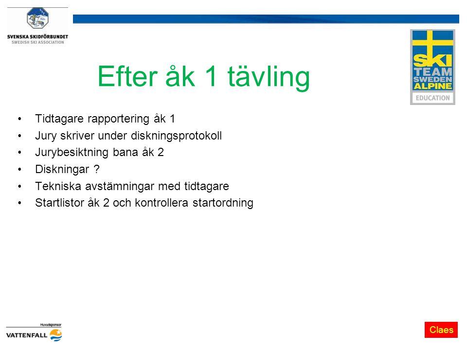 Efter åk 1 tävling Tidtagare rapportering åk 1 Jury skriver under diskningsprotokoll Jurybesiktning bana åk 2 Diskningar .