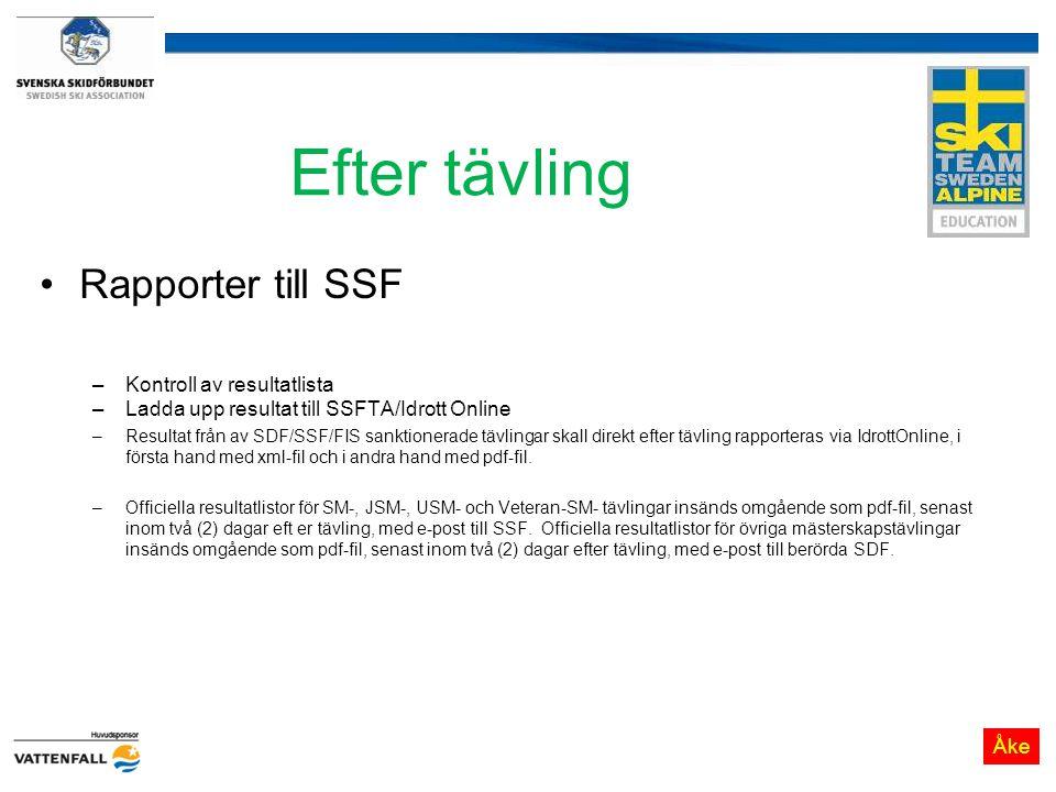 Efter tävling Rapporter till SSF –Kontroll av resultatlista –Ladda upp resultat till SSFTA/Idrott Online –Resultat från av SDF/SSF/FIS sanktionerade t