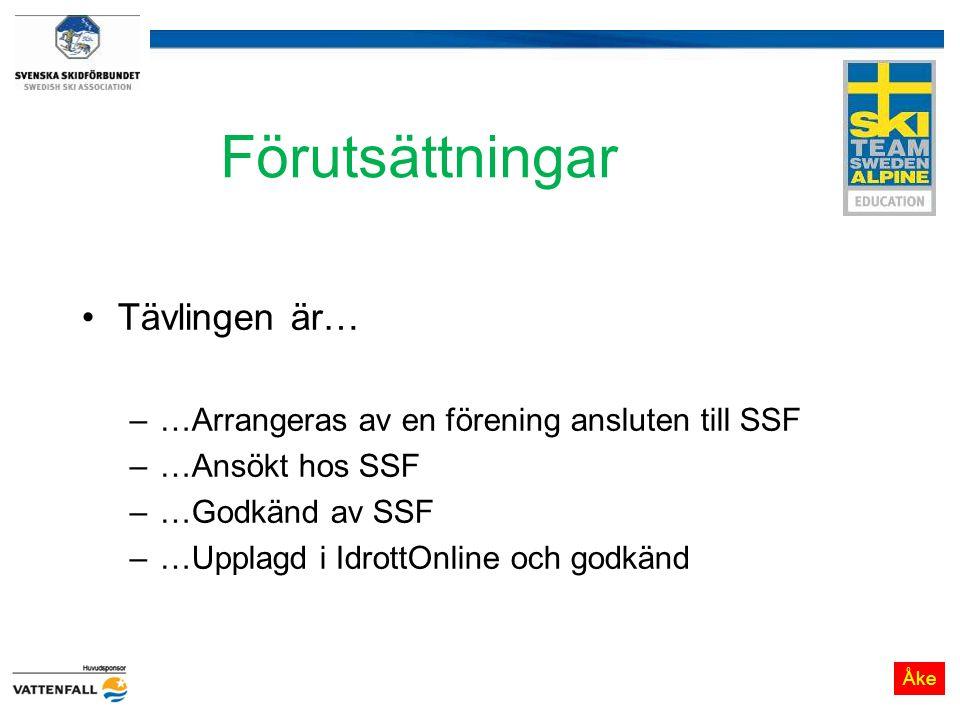 Förutsättningar Tävlingen är… –…Arrangeras av en förening ansluten till SSF –…Ansökt hos SSF –…Godkänd av SSF –…Upplagd i IdrottOnline och godkänd Åke