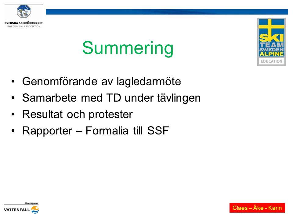 Summering Genomförande av lagledarmöte Samarbete med TD under tävlingen Resultat och protester Rapporter – Formalia till SSF Claes – Åke - Karin