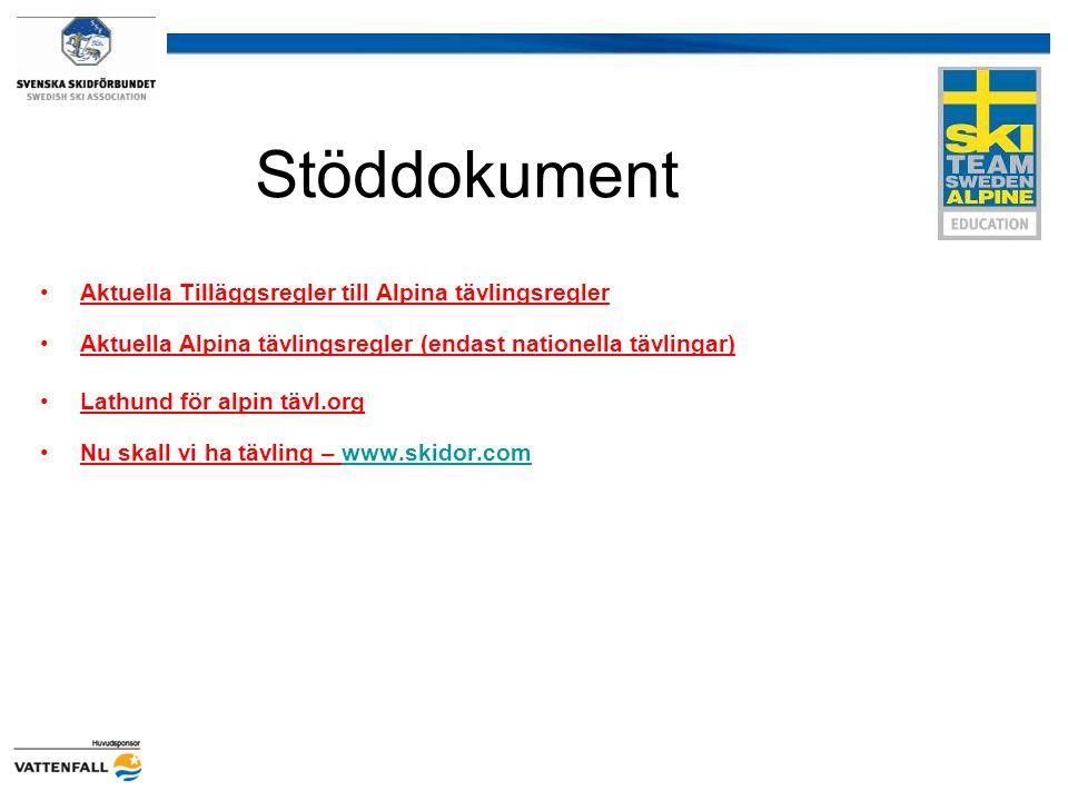 Stöddokument Aktuella Tilläggsregler till Alpina tävlingsregler Aktuella Alpina tävlingsregler (endast nationella tävlingar) Lathund för alpin tävl.org Nu skall vi ha tävling – www.skidor.comwww.skidor.com