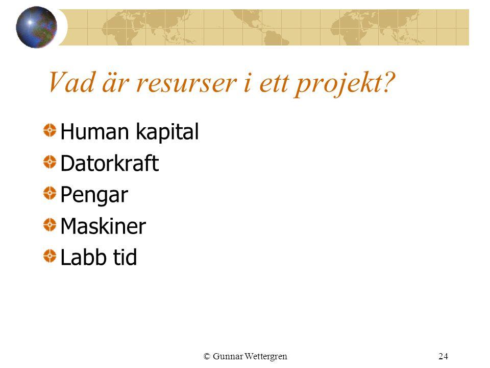 © Gunnar Wettergren24 Vad är resurser i ett projekt? Human kapital Datorkraft Pengar Maskiner Labb tid