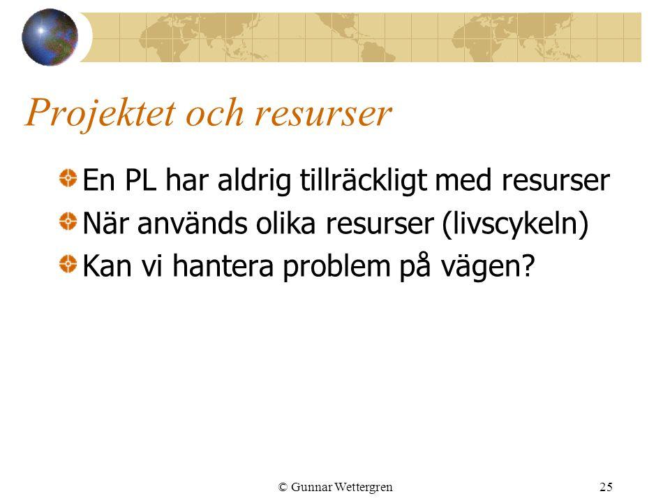 © Gunnar Wettergren25 Projektet och resurser En PL har aldrig tillräckligt med resurser När används olika resurser (livscykeln) Kan vi hantera problem