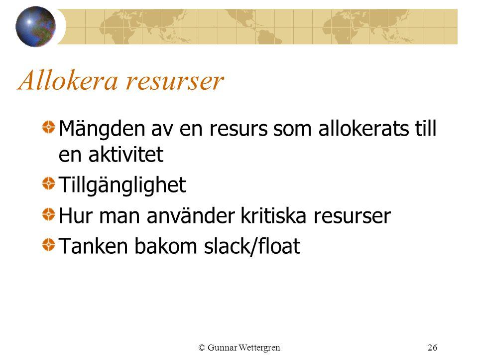 © Gunnar Wettergren26 Allokera resurser Mängden av en resurs som allokerats till en aktivitet Tillgänglighet Hur man använder kritiska resurser Tanken