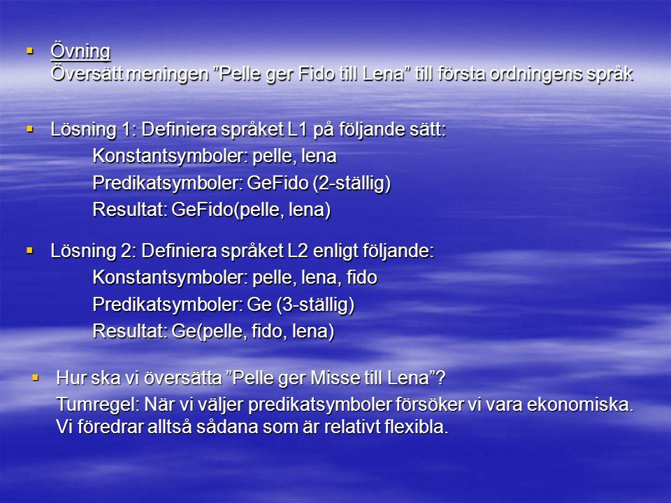  Övning Översätt meningen Pelle ger Fido till Lena till första ordningens språk  Lösning 1: Definiera språket L1 på följande sätt: Konstantsymboler: pelle, lena Predikatsymboler: GeFido (2-ställig) Resultat: GeFido(pelle, lena)  Lösning 2: Definiera språket L2 enligt följande: Konstantsymboler: pelle, lena, fido Predikatsymboler: Ge (3-ställig) Resultat: Ge(pelle, fido, lena)  Hur ska vi översätta Pelle ger Misse till Lena .