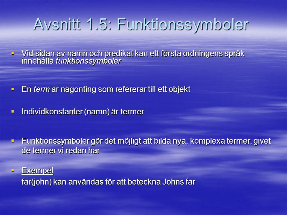 Avsnitt 1.5: Funktionssymboler  Vid sidan av namn och predikat kan ett första ordningens språk innehålla funktionssymboler  En term är någonting som refererar till ett objekt  Individkonstanter (namn) är termer  Funktionssymboler gör det möjligt att bilda nya, komplexa termer, givet de termer vi redan har  Exempel far(john) kan användas för att beteckna Johns far